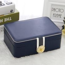 Large capacity Princess European Korean jewelry storage box Jewelry box Hand jewelry earring earrings earring box with lock