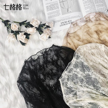 Black lace primer, long sleeves, autumn dress 2018 new style hollows, loose blouses, gauze blouse, sweater.