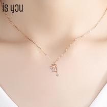 2021 new 18k gold dolphin diamond necklace female summer light luxury niche clavicle chain white Platinum birthday gift
