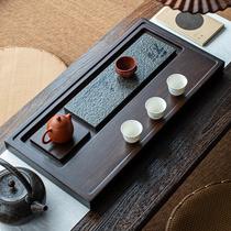 Малый мост поток воды весь блок черного чайной тарелки твердого дерева бытовой простой размер прямоугольного дренажного чайного стола Дзен