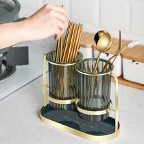 Light luxury chopstick shelf Household chopstick bucket drain tableware storage box Chopstick tube Kitchen chopstick basket Chopstick cage