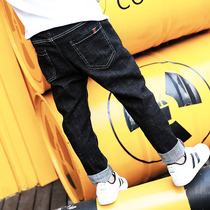 Boys jeans plus plus-down childrens pants autumn 2020 new thick middle-aged and large boy yang pie one-in-one velvet pants