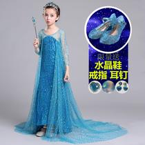 Ice princess dress Pocahontas Queen girl dress autumn and Winter section Aisha Aisha dress tailed dress