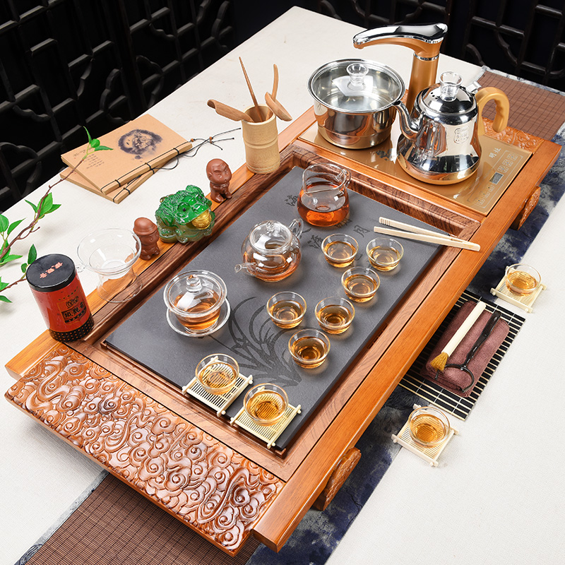 Xia Wei purple sand kung fu tea set home fully automatic simple set of electric magnet furnace drinking tea solid wood tea dish
