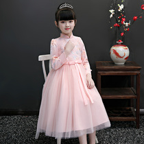 Childrens dress autumn and winter qipao Chinese style girl princess skirt thickening warm in the Big childrens foreign Fuda skirt