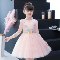 Girls autumn new style dress 2020 girl princess dress fluffy yarn Super fairy long-sleeved childrens skirt
