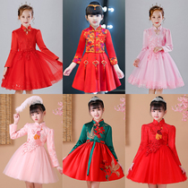 Girls  winter dress autumn winter plus velvet dress princess skirt Western autumn dress fluffy yarn Korean version of childrens skirt girl dress