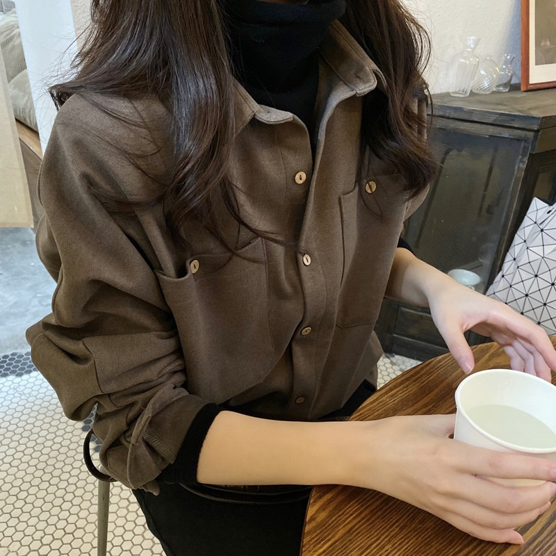 Shirt women autumn and winter hundred with 2020 new Korean version of the polished hair and thick shirt ancient port flavor loose long-sleeved top