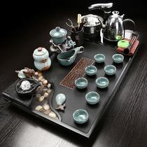整块乌金石茶盘雾化流水功夫茶具套装家用大号茶台陶瓷紫砂喝茶杯