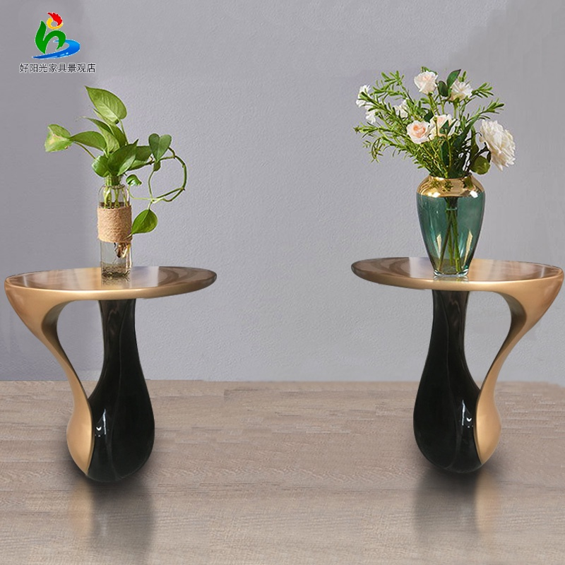 The new fiberglass two-color small coffee table indoor office meeting landscape beauty decoration decoration manufacturers direct supply