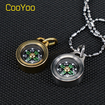 CooYoo CPS-1 titanium brass compass outdoor climbing compass refers to the north needle night light portable navigation.