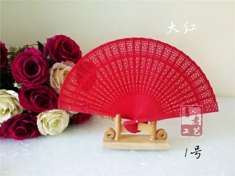 Lady Qipao of Stage Show Red Folding Fan Craft Easy to Open and Close Wood Hollow-out Double-sided Fan Wholesale