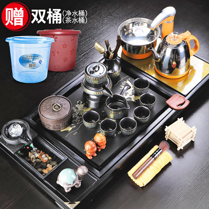 Tea set set fully automatic all-in-one home office guest teahouse simple living room tea plate ceramic tea set