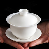 Porcelain in the three ambiguous german pure white porcelain three only to cover a bowl of tea cup small tea-making equipment household ceramic kung fu tea set manual