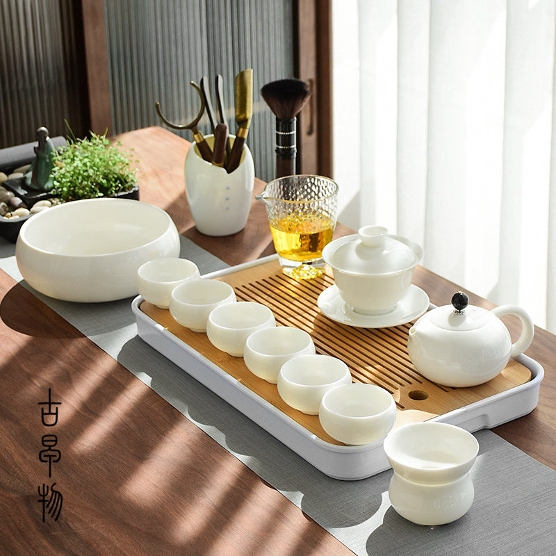 Dehua white porcelain three only to cover the bowl of sheep fat jade kung fu tea set set family small set of living room simple teapot teacase