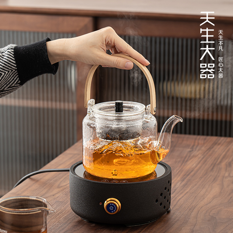 Born large electric pottery stove teapot set steaming double use of household kettle to make tea maker glass ceramic teapot