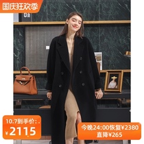 riz padded double-sided cashmere coat womens long high-end 2021 new double-breasted black wool coat
