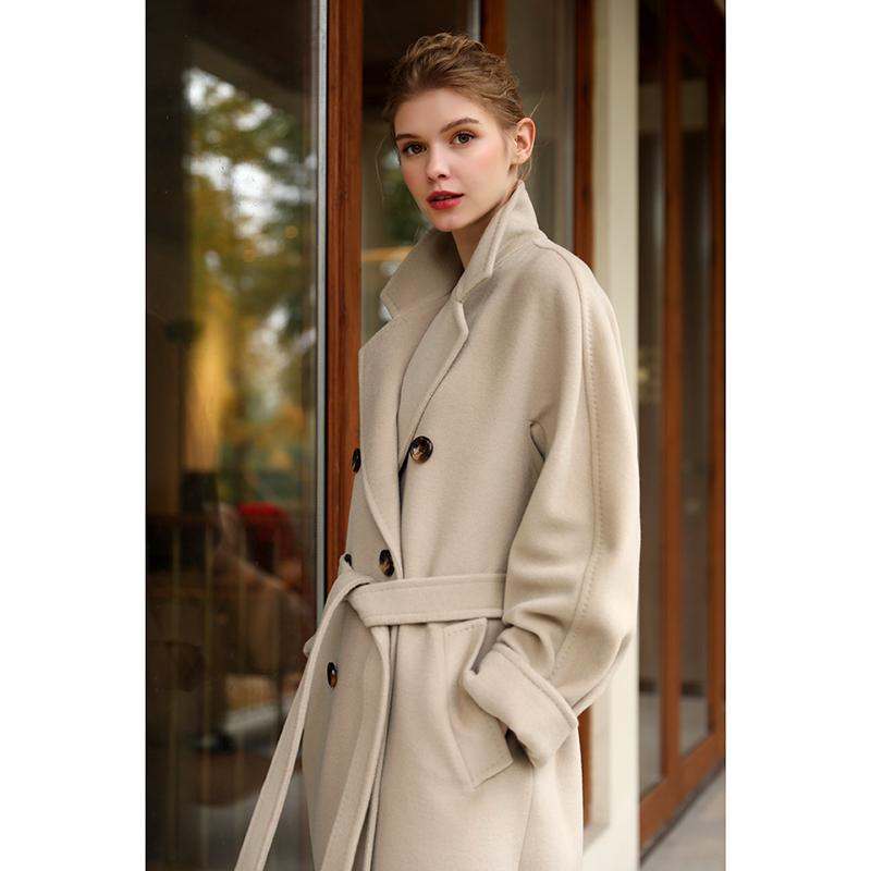 101801 beige high-end double-sided cashmere coat female medium-length version 2020 new Hepburn wind hair coat winter