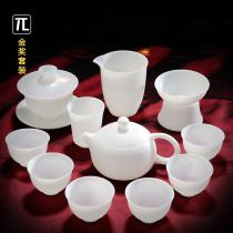 (Gold Award) Thin tire tea set Home living room tea sheep fat jade white porcelain covered bowl Tea cup Teapot Fair cup