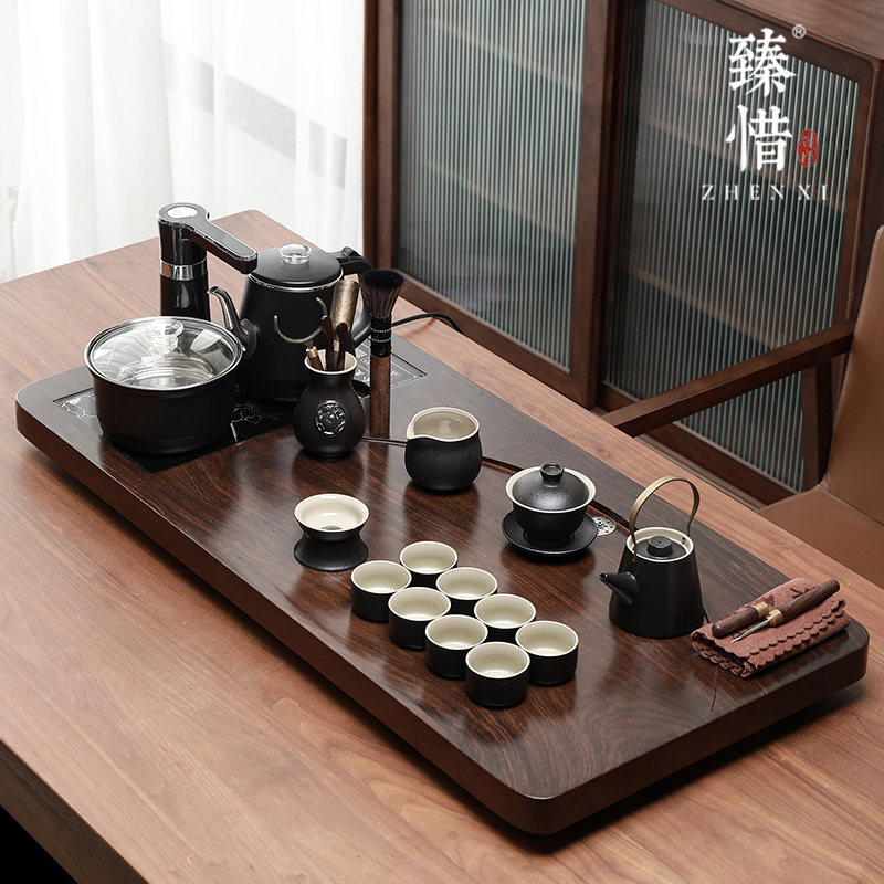 Regret the whole set of kung fu tea sets home living room office guests Chinese simple solid wood tea plate small tea table