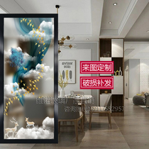 Art glass screen partition modern style porch aisle background double-sided translucent tempered sound insulation abstract Yuu deer