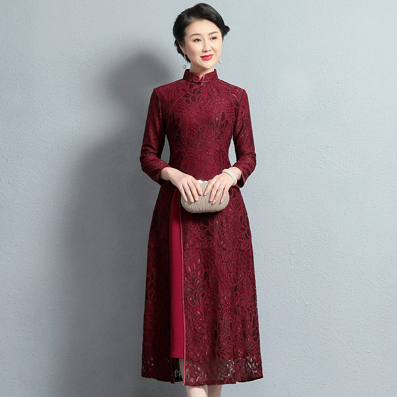 Wedding mother dress noble pie autumn and winter dress bride married mother-in-law孃 mother-in-law wedding banquet dress