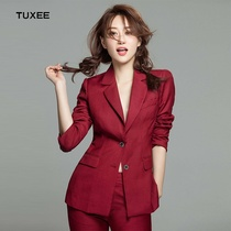 Authentic TUXEE autumn Yang Mi with fashion OL wine red suit suit temperament double-breasted suit jacket slim