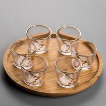 Маленькая чашка стеклянной чашки маленькая чашка 6 только загружен кунг-фу чай набор прозрачный японский небольшой домашний след дегустации чашки