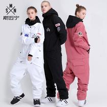 Skiwear womens suit jumpsuit adult wind-proof waterproof snow country warm outdoor equipment snowboard double ski men