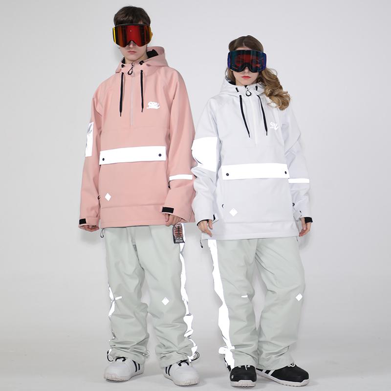 Smyinen ski suit mens and womens reflective head waterproof warm snow suit snow pants adult snowboarding suit