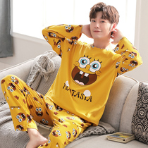 Pajamas male cartoon long-sleeved cotton spring and autumn students teenagers cute anime home service autumn and winter thin suits