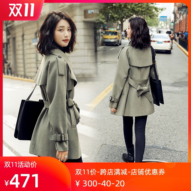 Double-sided cashmere coat girl 2020 autumn winter new Korean version loose show thin small medium-length version of hair coat tide