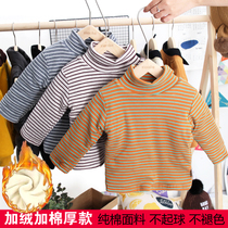 Baby Velvet Bottom Shirt clip cotton male baby girl thickening autumn and winter cotton semi-high collar striped long-sleeved top