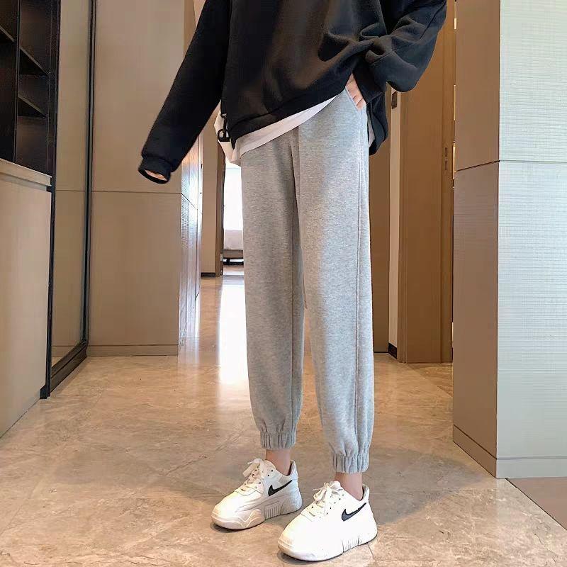 South Korean gray sweatpants women autumn and winter plus-down loose-fitting leggings thin casual hundred straight barrel nine-point lantern guard pants