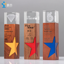 Trophy custom solid wood medal creative wooden crystal trophy five-pointed star teacher graduation competition souvenir