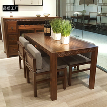 New Chinese solid wood dining table and chair combination Villa Model room table hotel round dining table and Chair Restaurant Cafe table