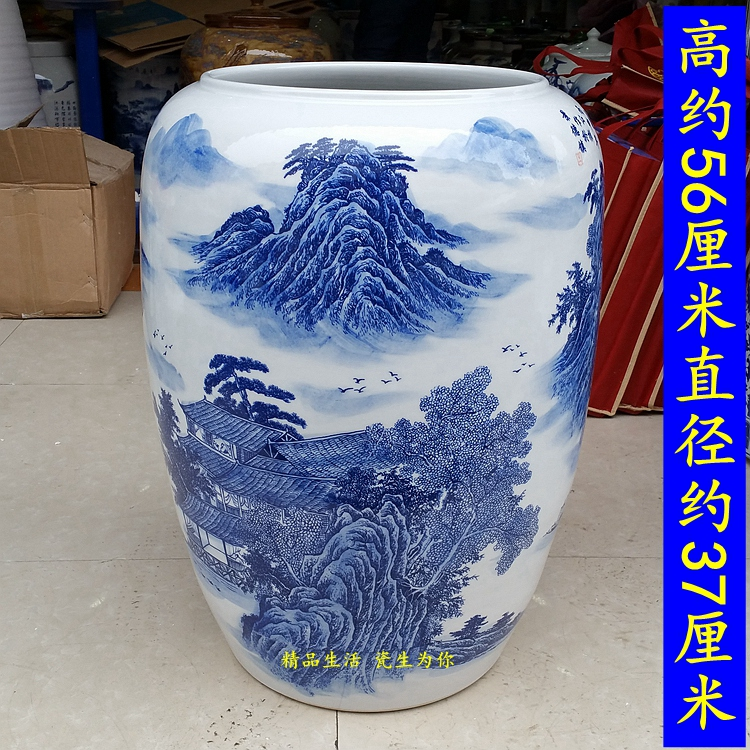 Jingdezhen ceramics reel tube calligraphy and painting cylinder painting tube blue and white vase arrow arrow drawing tube map tube umbrella barrel
