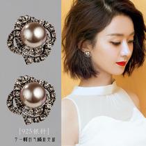 2021 new fashion Korea sterling silver earrings earrings female short pearl temperament simple personality delicate all-match earpiece