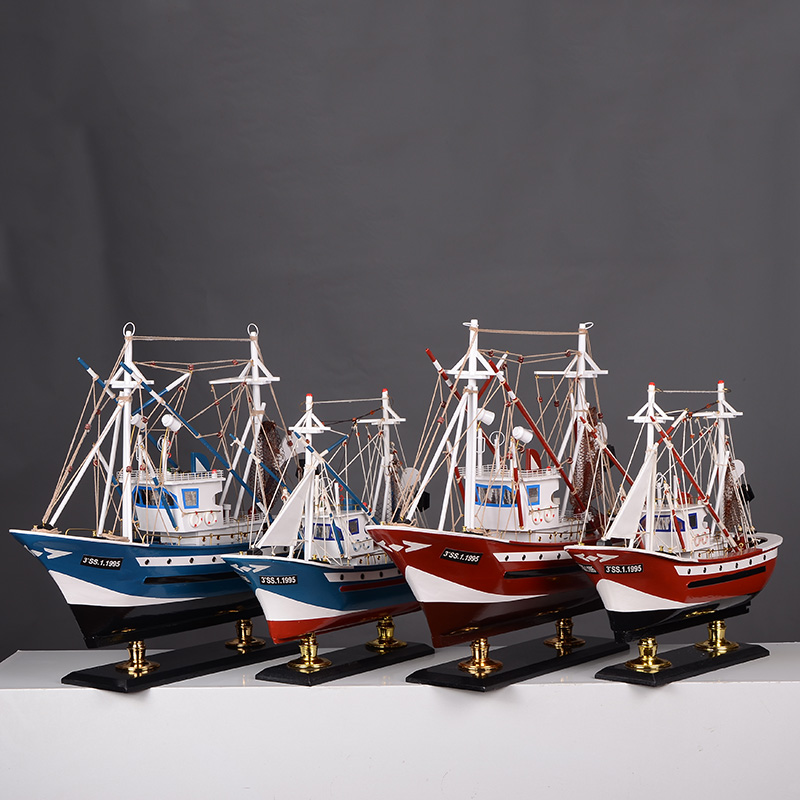 Fishing boat model decoration boat model creative living room shelf desktop decoration small gifts for wooden sailing boats