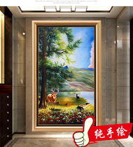 Pure handmade oil painting vertical version of Feng shui introduction hanging painting into the Xuan Guan decorative painting landscape mural Elk wall Painting