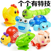Childrens baby spring toys will run small animal baby toddler strength winding tin frog toy 0-1 years old