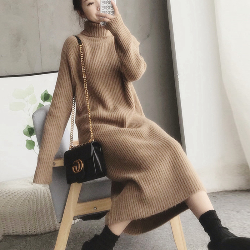 Cashmere knitted dress womens 2020 new autumn winter thick loose-fitting over-knee version of the bottom sweater skirt