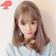 Girls with long straight hair wig products show air Liu Haipian side part buckle C bending natural fluffy wig Weijuan