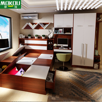 European whole Bed wardrobe combination single double bed 1.1-meter. 35 m modern master bedroom tatami bed customization