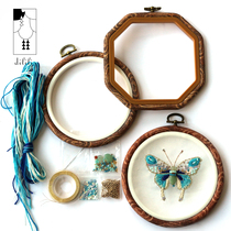 Timmy Original home decoration diy beads embroidered blue butterfly embroidery wall decoration embroidered taut embroidery material pack