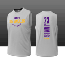 Basketball training suit James 23rd sleeveless Vest Lakers championship street basketball cuff sports T-shirt DIY