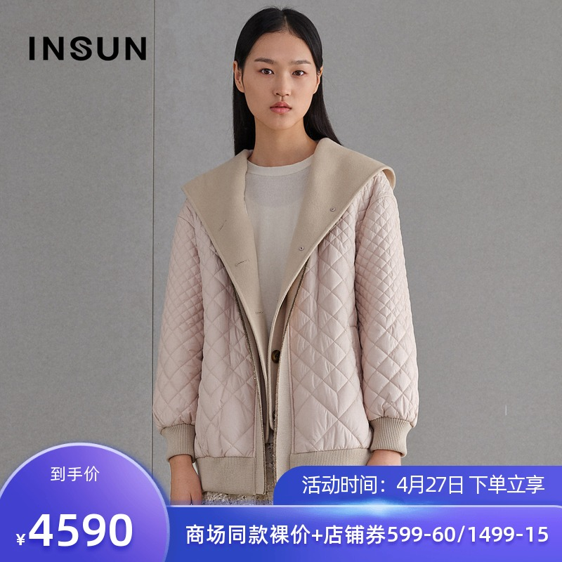 En Shang 2021 spring new fashion loose age reduction pink lapel splicing wool coat coat female