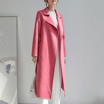 Pink double-sided cashmere coat womens autumn and winter new high-end mid-length temperament age-reduction lace-up wool jacket