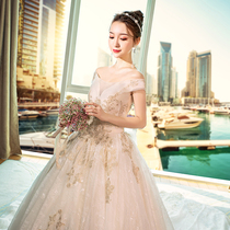 A word shoulder to the court big code princess long tail wedding dress