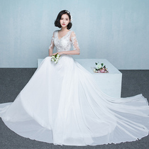 Flowers marry in winter small drag tail han version of lace princess wedding dress